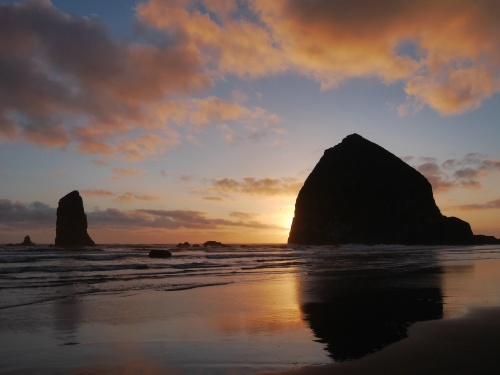 Haystack Rock and Needles at sunset