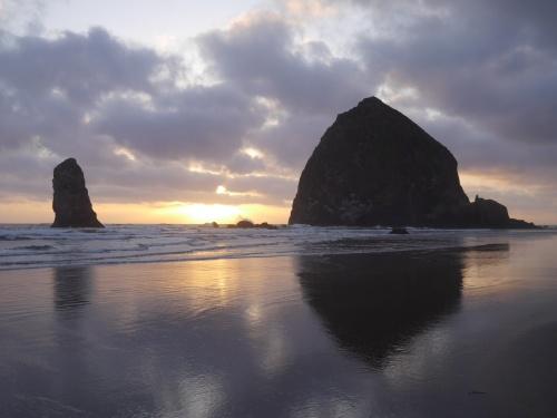 sunset haystack rock