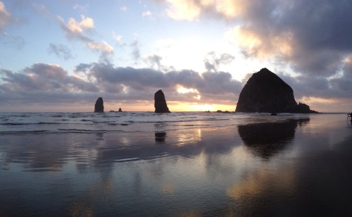 haystack rock sunset pano