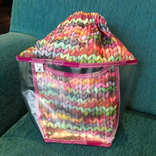 chicken boots knit project bag
