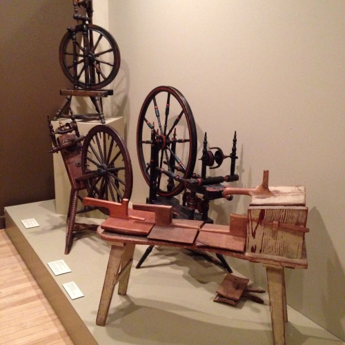 spinning wheels and carding bench
