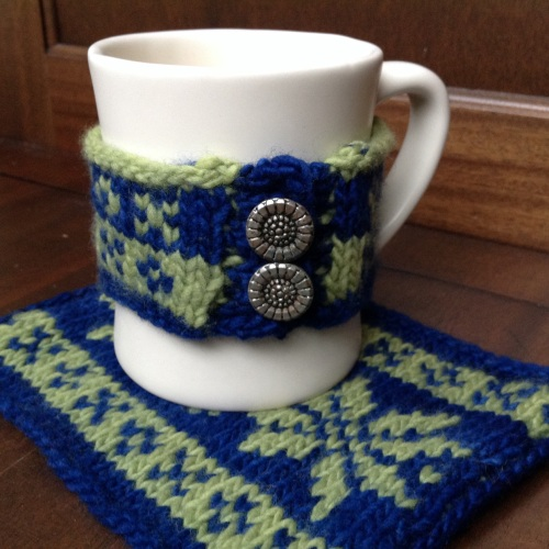 snowflake coffee cozy set