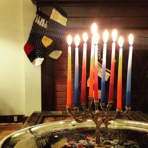 menorah and christmas stockings