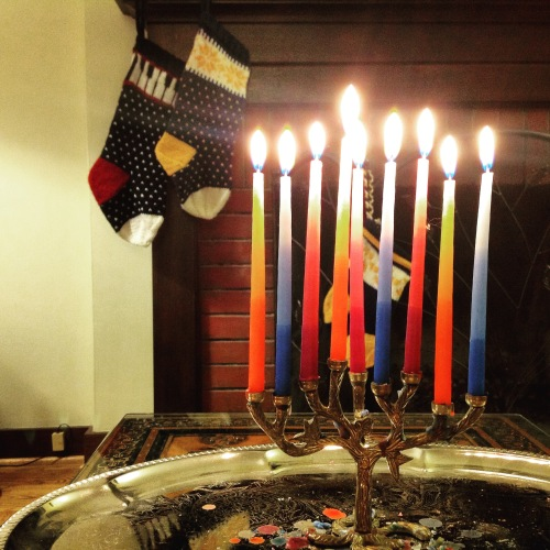 menorah and christmas stockings