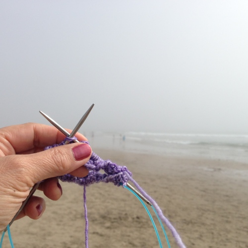 Carpinteria beach knitting
