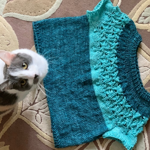 Love Note sweater FO and cat
