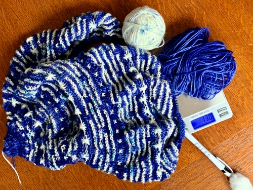 weighing yarn for half the knit sky